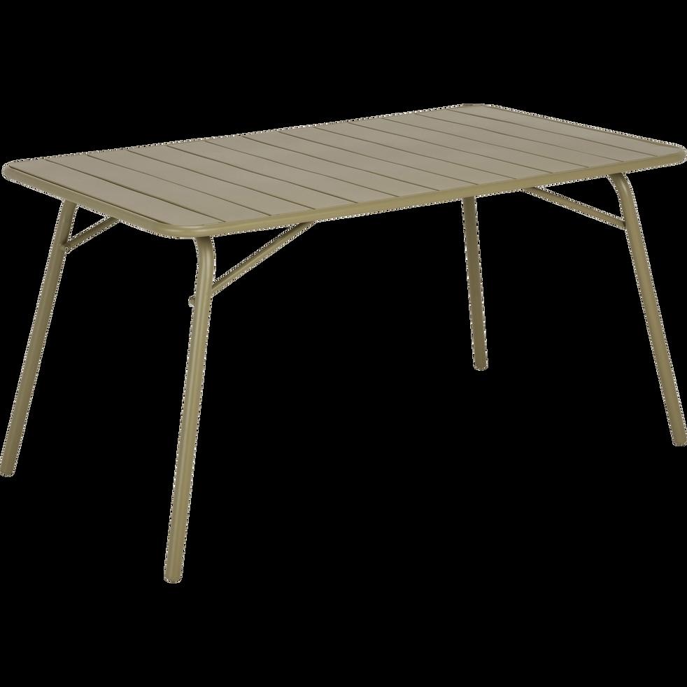 Table de jardin pliante en acier vert olivier (4 à 6 places)-SOURIS