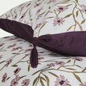 Housse de couette en satin de coton 260x240cm et 2 taies d'oreillers à motifs fleuris-DANGWA