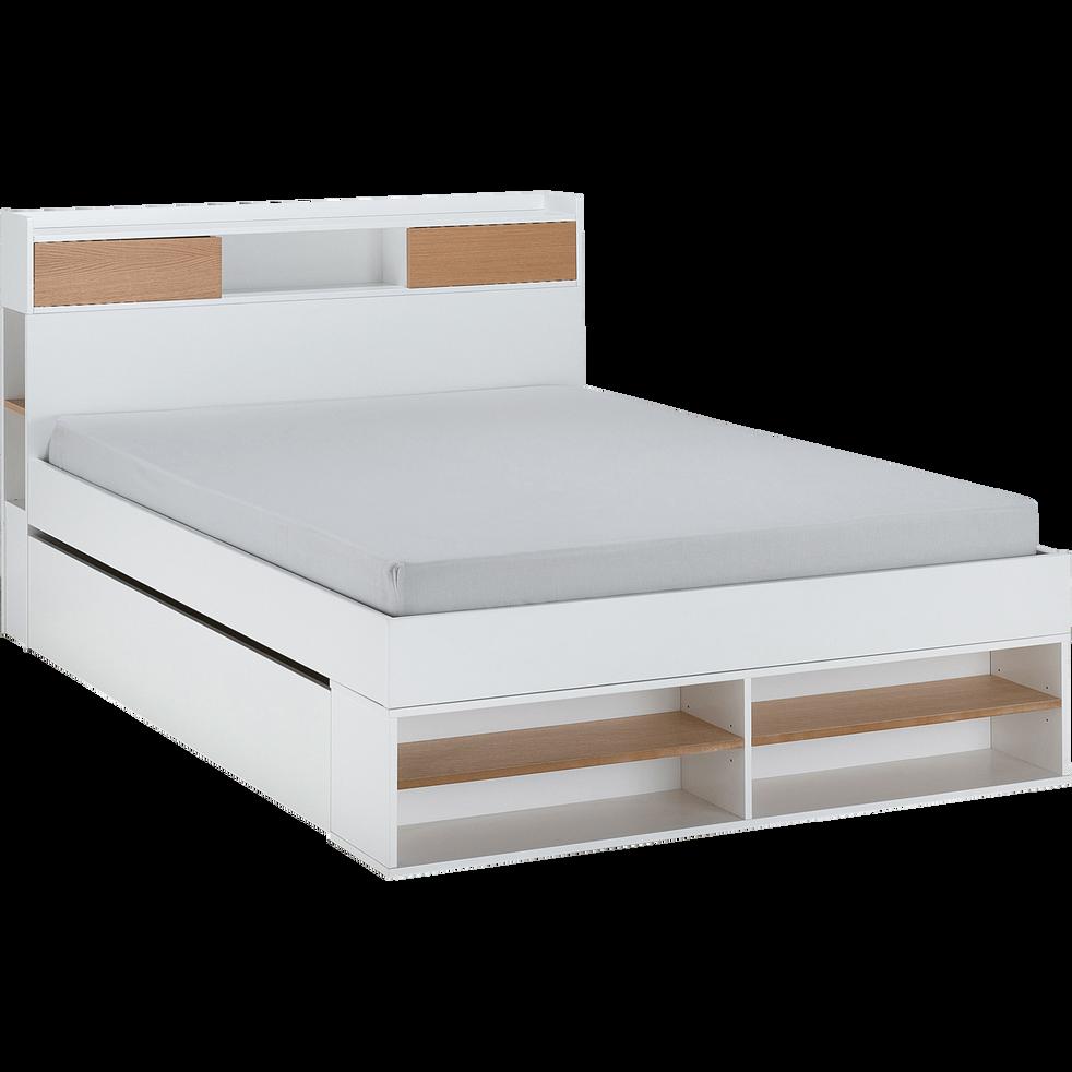 Lit blanc avec multiples rangements 160x200cm-ROC