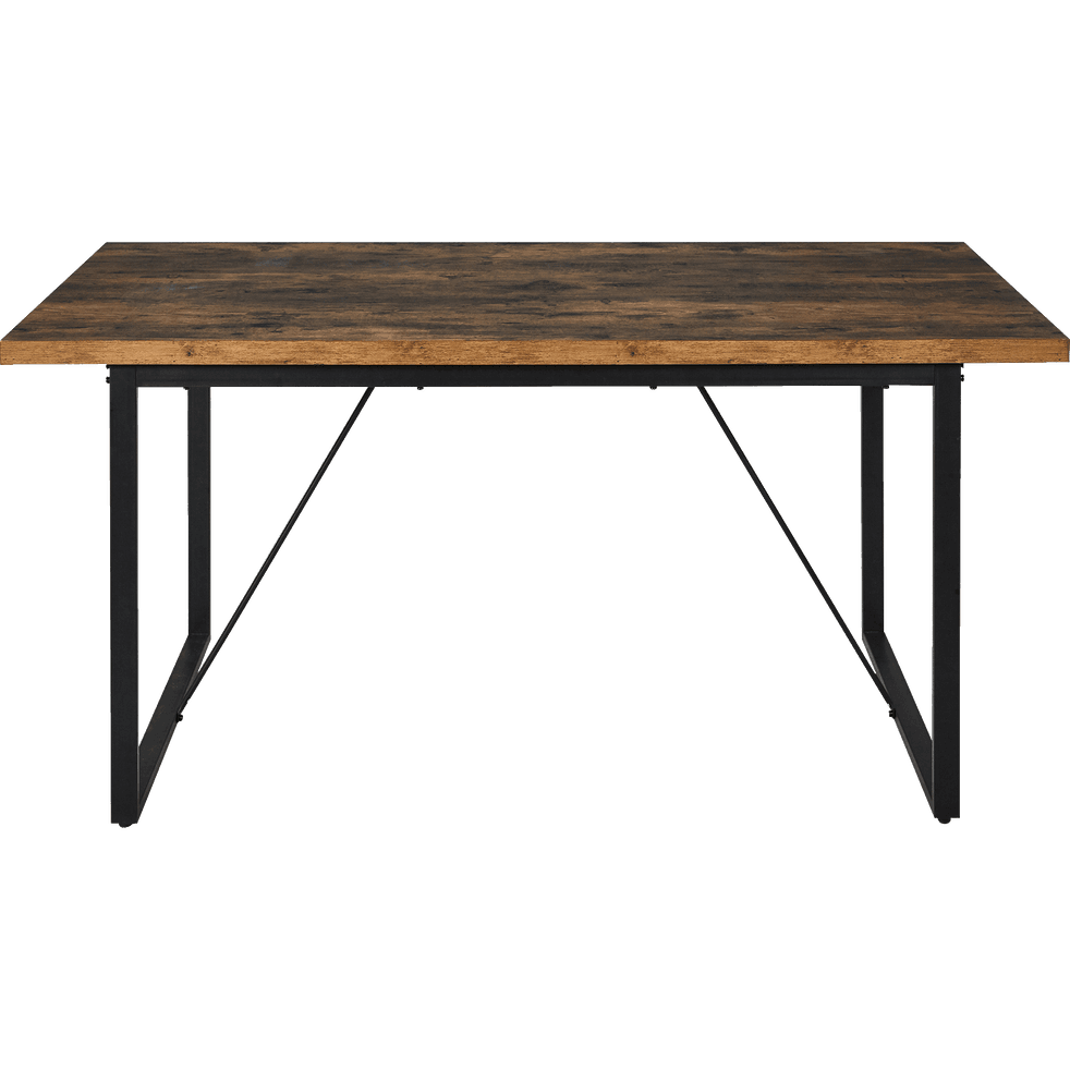table de repas rectangulaire effet bois et acier 6 places manille 160x90cm tables fixes. Black Bedroom Furniture Sets. Home Design Ideas