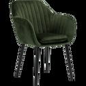 Chaise capitonnée en velours vert cèdre avec accoudoirs-SHELL