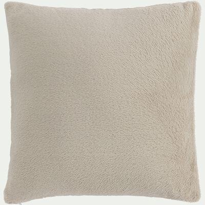 Housse de coussin effet polaire en polyester - beige alpilles 40x40cm-ROBIN