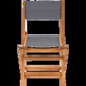 Chaise de jardin pliante en acacia et textilène gris-BORGIO