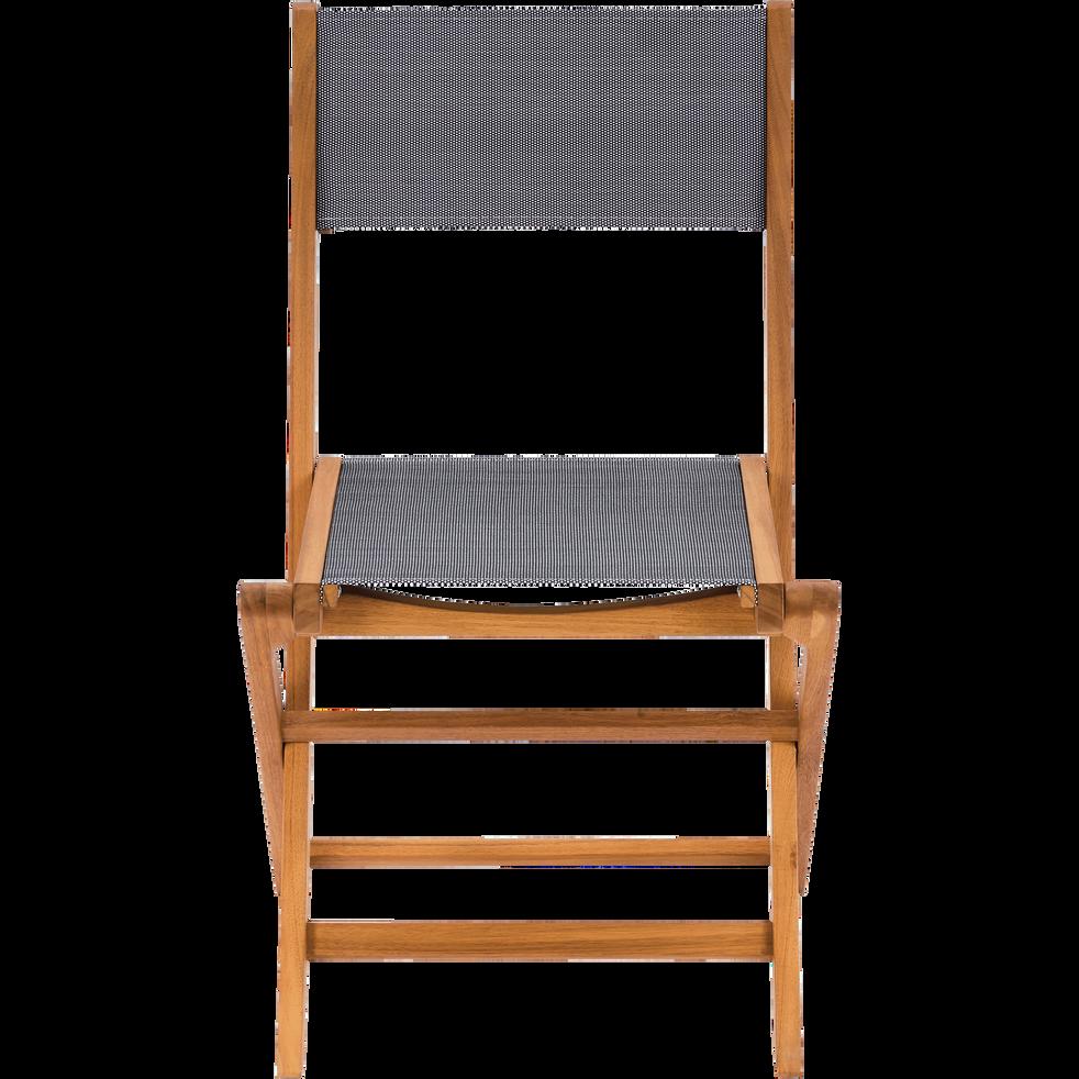 BORGIO - Chaise de jardin pliante en acacia et textilène gris