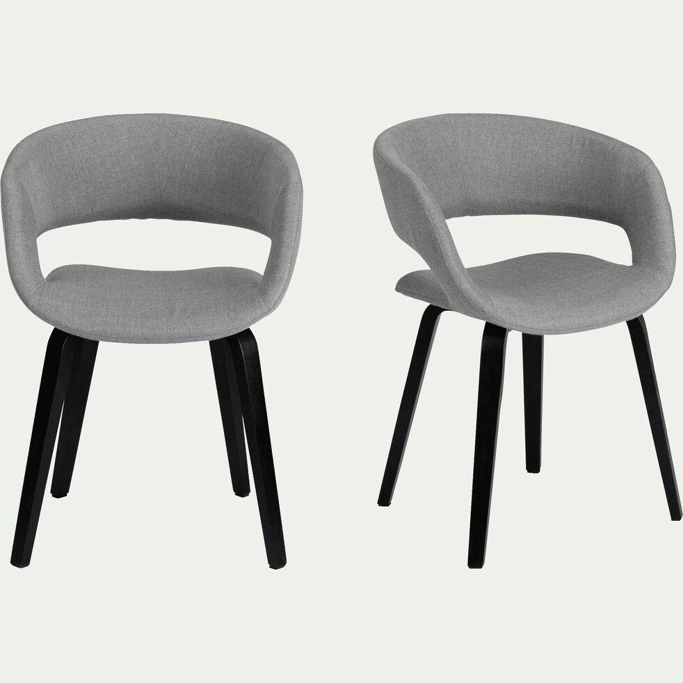 Chaise en tissu avec accoudoirs - gris borie-JOYAU