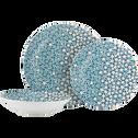 Assiette à dessert en grès bleu D22cm-ZELLIGES