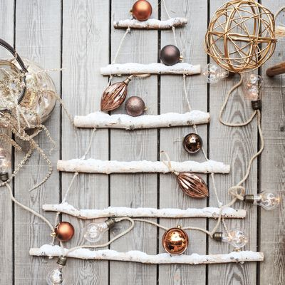 Boule de Noël en verre marron H13-ZELI