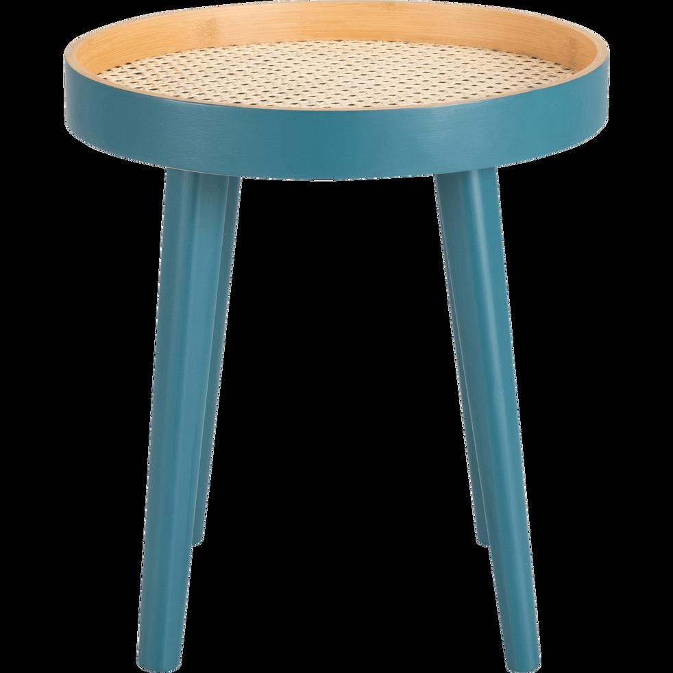 Bout de canapé bleu niolon plaqué bambou et cannage-CANE