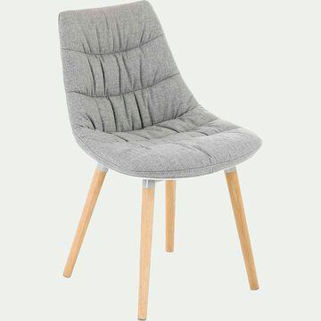 Chaise matelassée en tissu gris avec piètement en bois-JOY