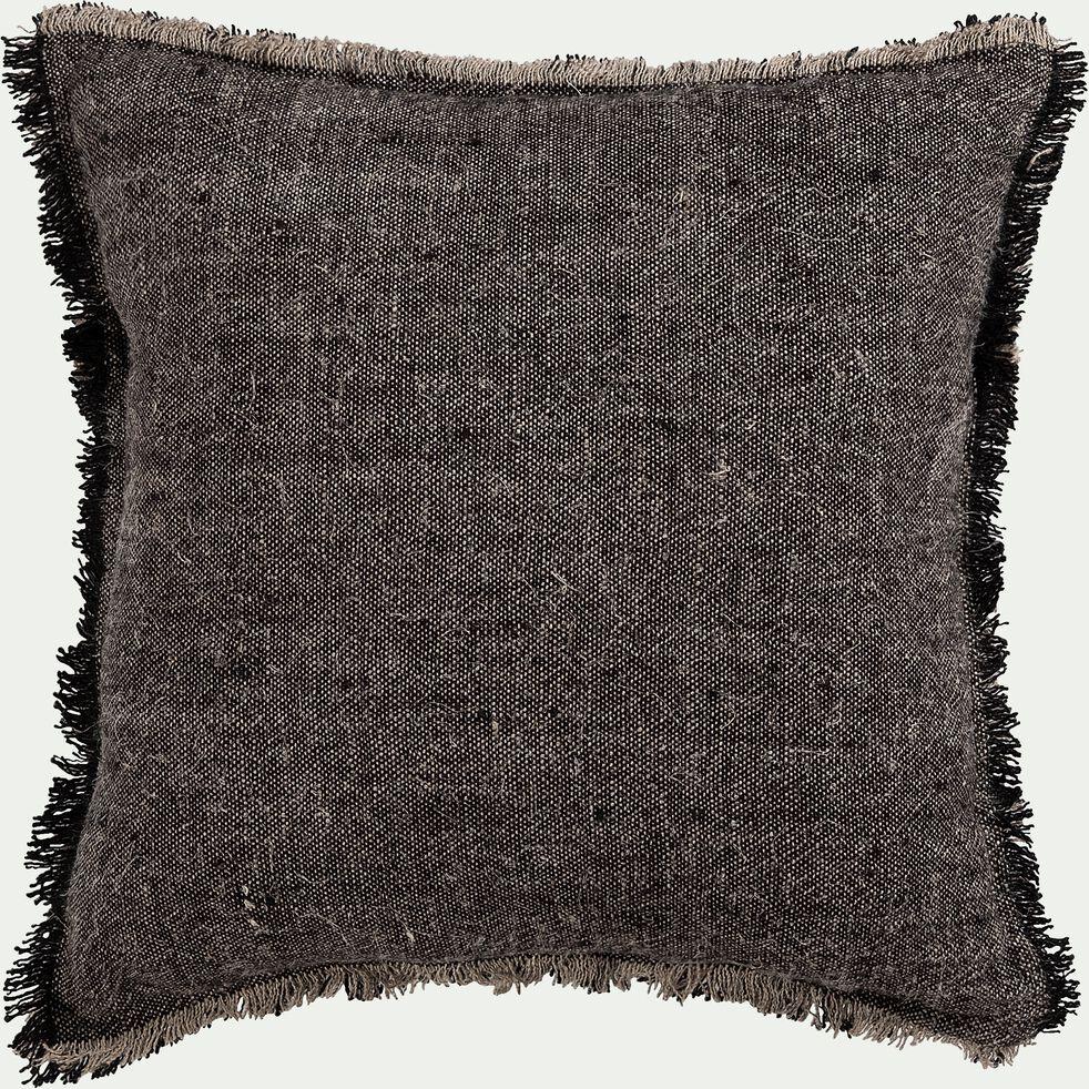 Coussin en lin chambray - noir 45x45cm-MALLAWI