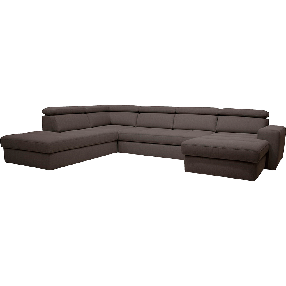 canap d 39 angle en forme de u convertible en tissu gris anthracite avec m ridienne droite. Black Bedroom Furniture Sets. Home Design Ideas
