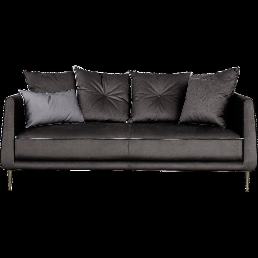 canap 3 places fixe en tissu noir calabrun astello. Black Bedroom Furniture Sets. Home Design Ideas