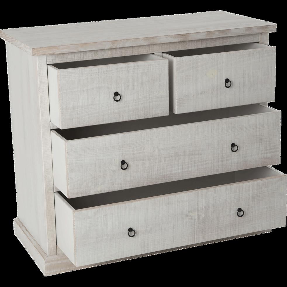 Commode 4 tiroirs en pin brossé blanchi-JALOUSIE