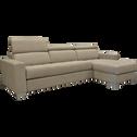 Canapé d'angle réversible fixe en microfibre noisette-MAURO