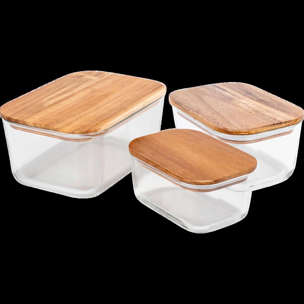 Boîte rectangulaire en verre couvercle en bois H9cm-SAPAN