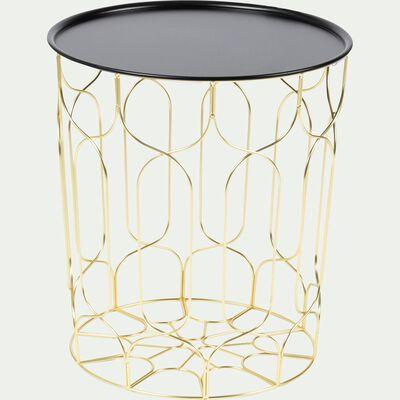 Bout de canapé en acier filaire avec plateau noir-PAIO
