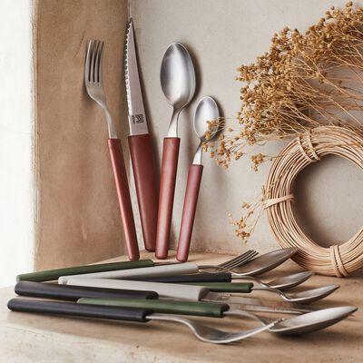 Couteau de table manche en matière végétale 100% recyclable - gris-LINE