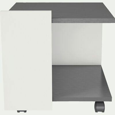 Table de chevet blanche avec roulettes et freins-ICE