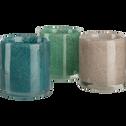 Photophore en verre turquoise moucheté H8,5 cm-GIULIANO