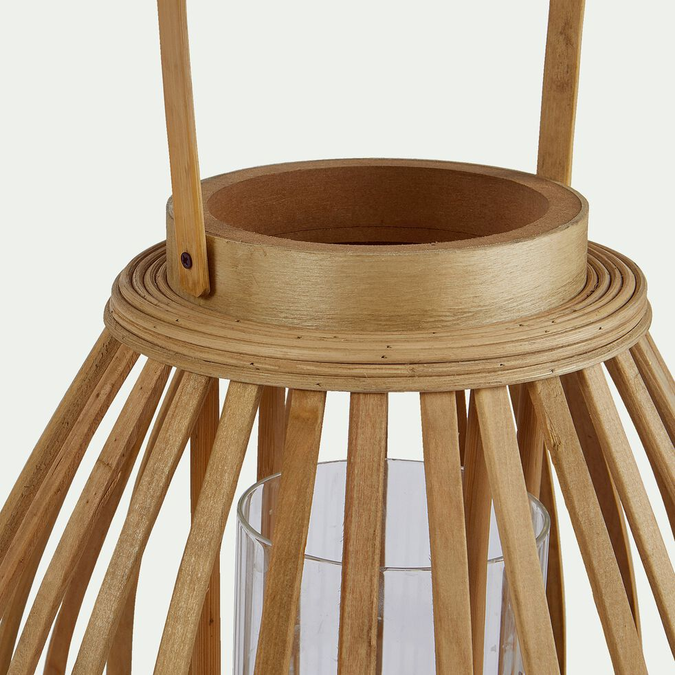 Lanterne ovale en rotin - naturel D28xH42,5cm-OMBELINE