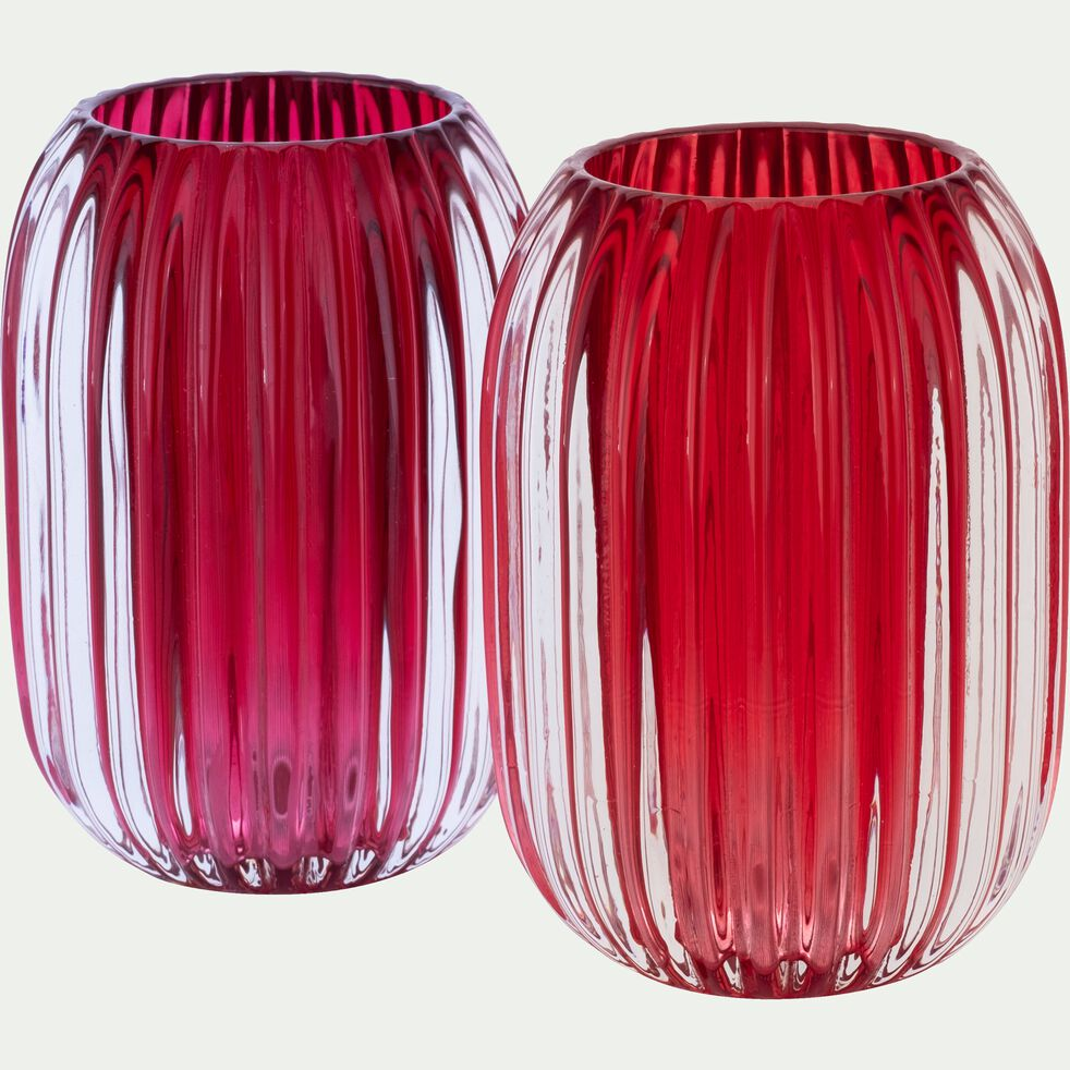 Photophore en verre - rouge sumac D9,5xH13cm-DANA
