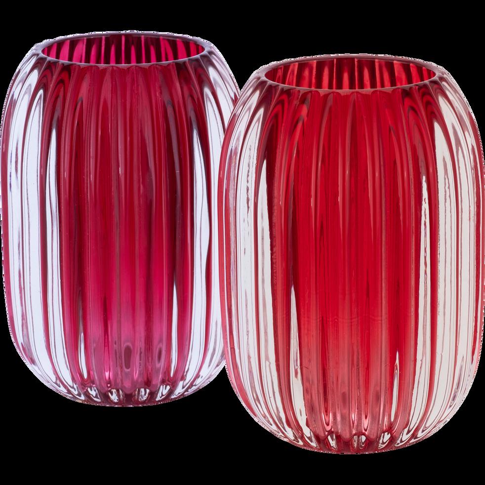 Photophore en verre rouge sumac D9,5xH13cm-DANA