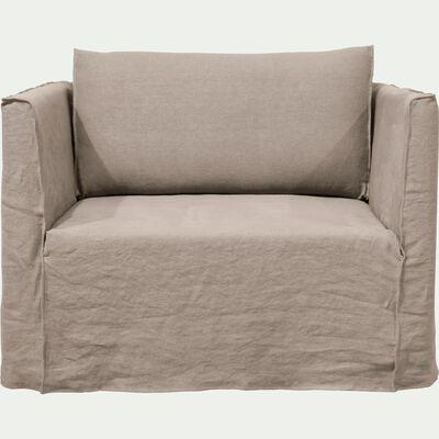 Canapé 1.5 places fixe en lin gris borie-VENCE