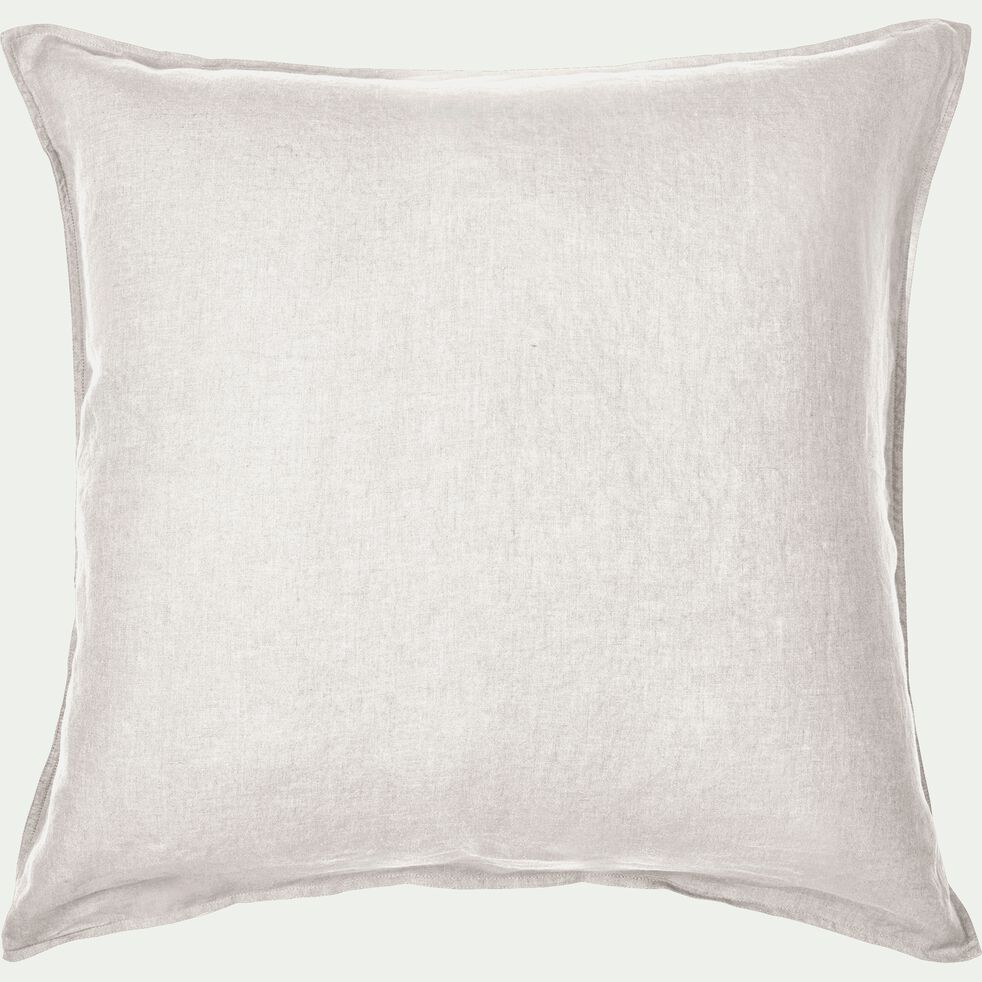 Lot de 2 taies d'oreiller en lin - blanc capelan 65x65cm-VENCE