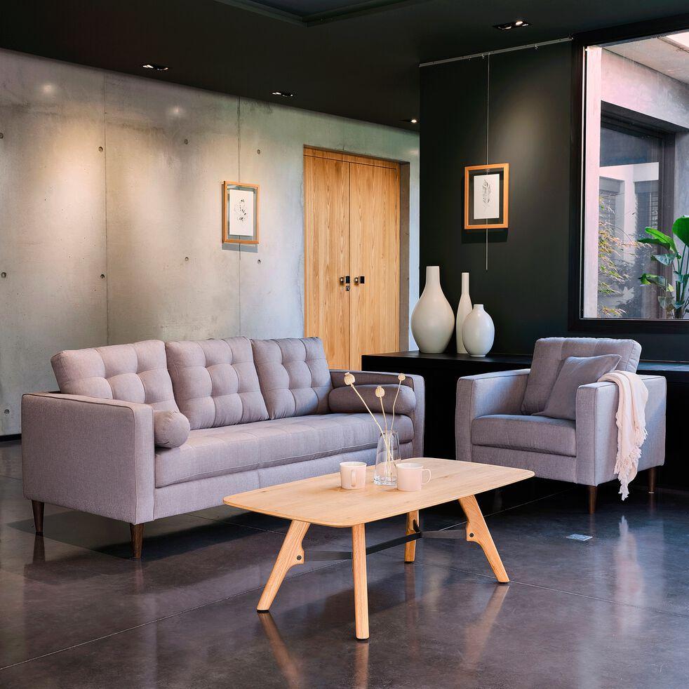Canapé 3 places fixe en tissu - gris borie-ROMEO