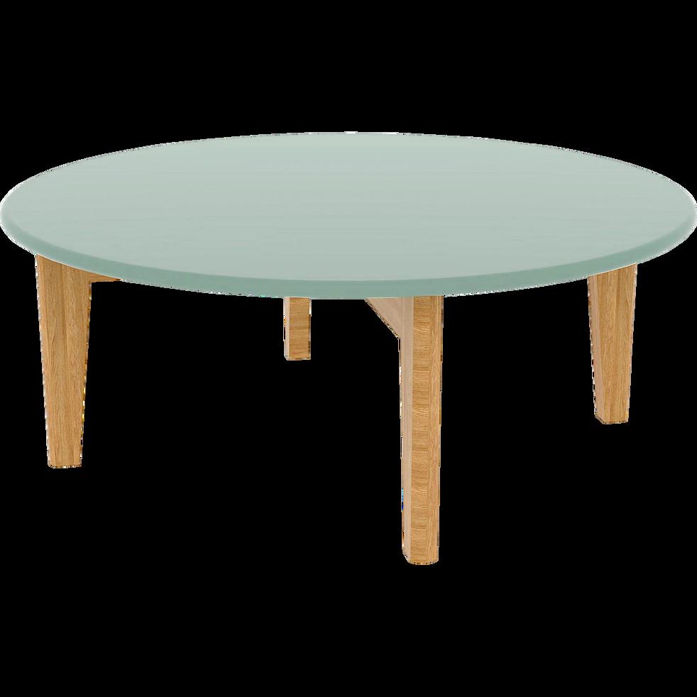 Table basse verte avec pieds en chêne-SIWA
