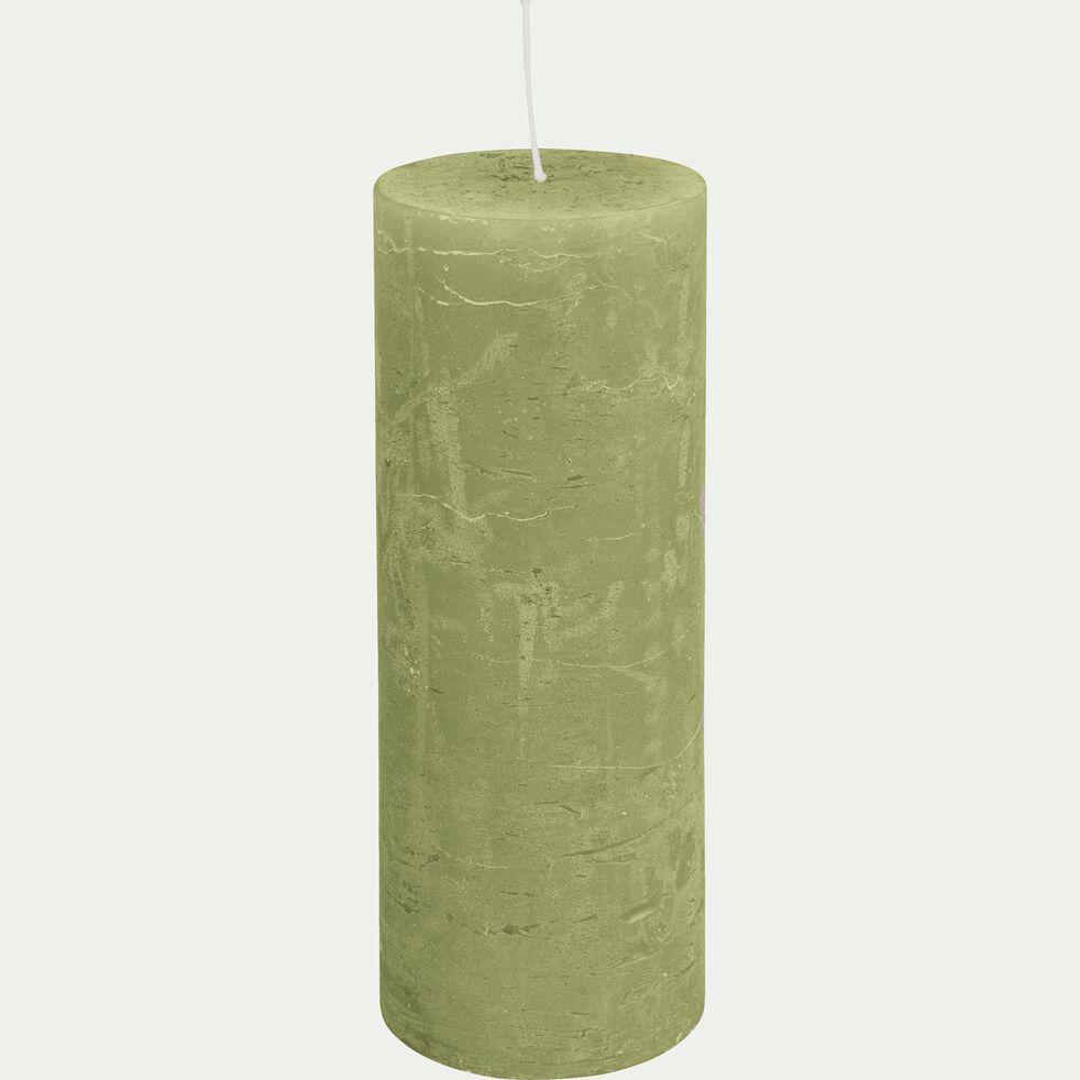 Bougie cylindrique vert garrigue D7xH19 cm-BEJAIA