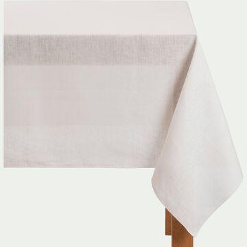 Nappe en lin et coton blanc nougat 170x250cm-MILA