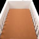 Drap housse en percale de coton lavé 60x120cm brun albe-PALOMA