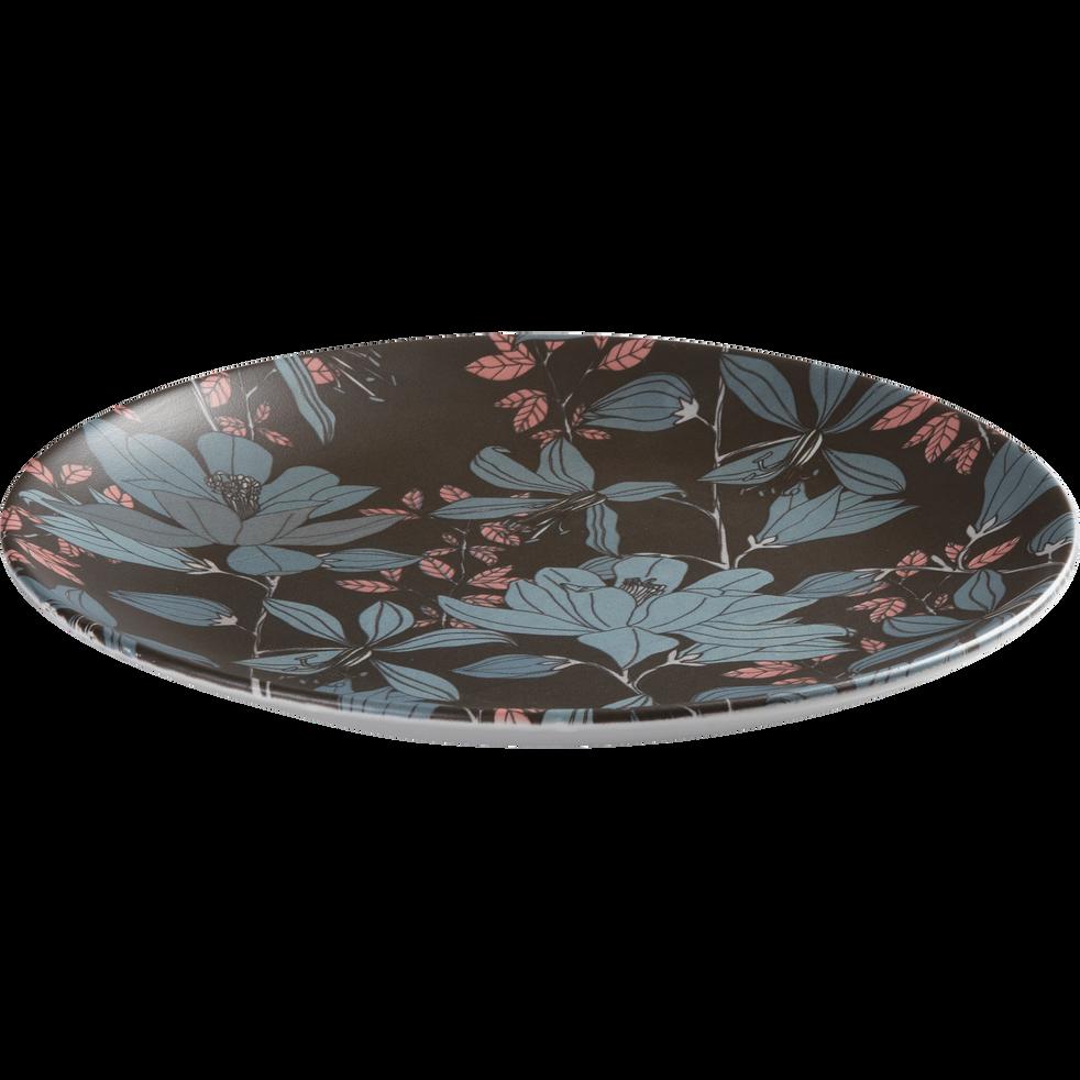 assiette plate en gr s noir d cor d25cm flore assiettes plates alinea. Black Bedroom Furniture Sets. Home Design Ideas