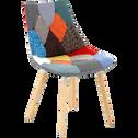 Chaise patchwork avec piétement chêne-JOY