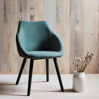 Chaise en tissu vert cèdre avec accoudoirs-NOELIE