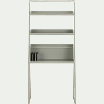 Bureau en bois et métal deux étagères - vert olivier-ESTANIER