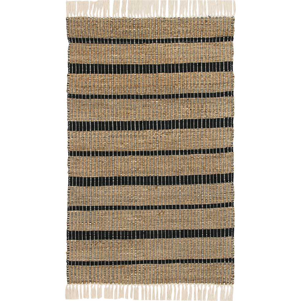 Tapis rayé en jute à franges 160x230cm-MILO
