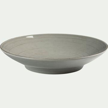 Assiette creuse en faïence vert olivier effet patiné D21cm-GASTON