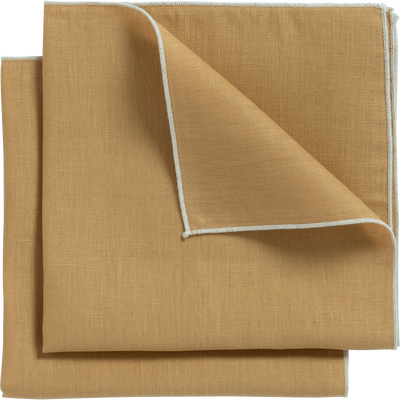Lot de 2 serviettes de table en lin et coton beige nèfle 41x41cm-MILA