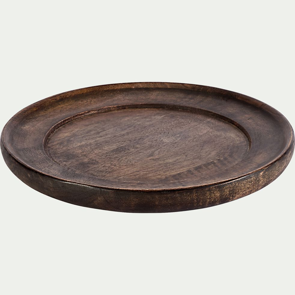 Assiette à dessert en bois de manguier D25,5cm - marron-CARCU