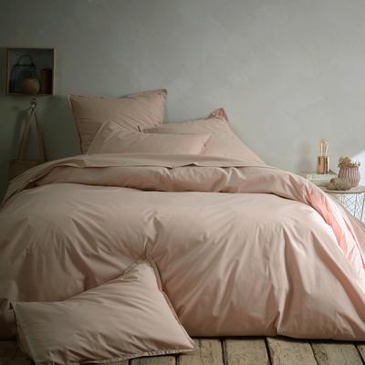 Drap plat en percale de coton 270x300 cm rose argile-FLORE