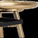Bout de canapé en métal noir et doré-BREHAT