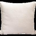 Coussin en coton gaufré rose grège 45x45cm-GOYA