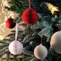 Boule de Noël en papier rouge D7cm-VERNIER