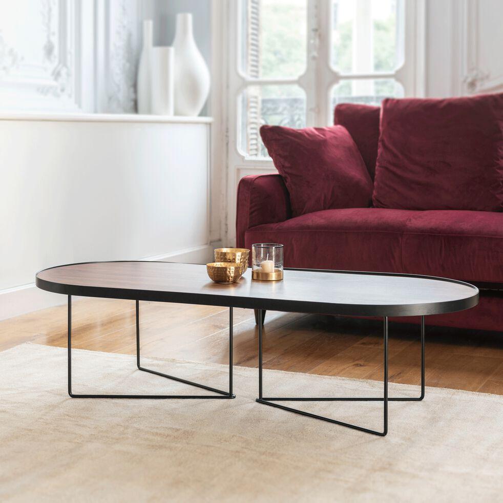 Table basse ovale en métal noir et placage noyer-GADONI
