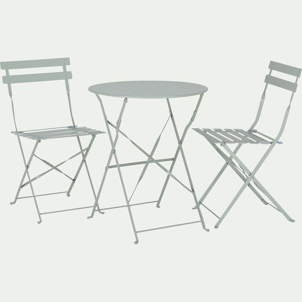 Ensemble table ronde (2 places) et chaises de jardin pliante en acier - plusieurs coloris-CERVIONE