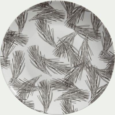 Assiette plate en porcelaine blanc capelan décorée D26,5cm-PIN D'ALEP