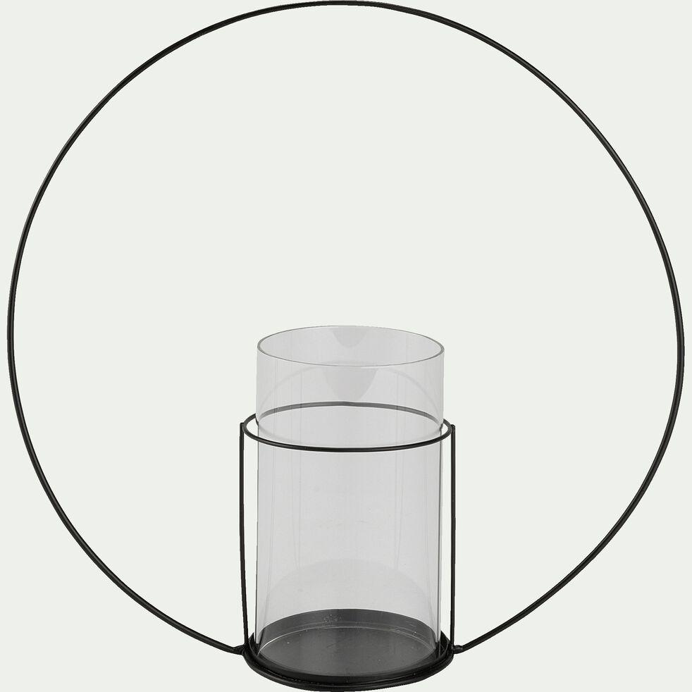 Photophore cercle en fer - noir D32cm-ANGE