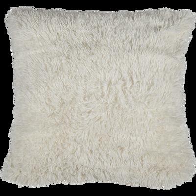 Housse de coussin imitation fourrure blanc 65x65cm-ELEC
